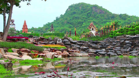 pond in Nong Nooch tropical garden in Thailand Footage