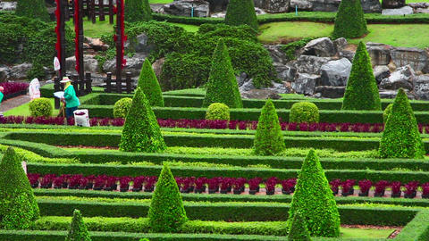 street cleaner in Nong Nooch tropical garden in Th Stock Video Footage
