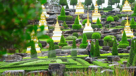 gardener watering in famous Nong Nooch tropical ga Stock Video Footage
