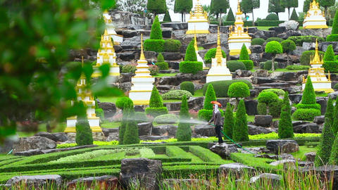 gardener watering in famous Nong Nooch tropical ga Footage