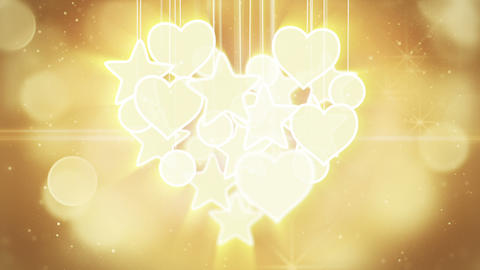 gold heart shape concept loop background luma matt Animation