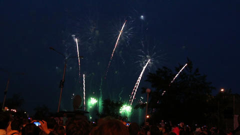 crowd of people watching fireworks Stock Video Footage