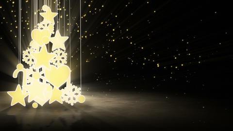 gold christmas tree decoration loop Stock Video Footage