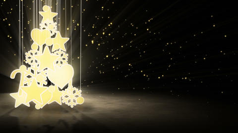 gold christmas tree decoration loop Animation