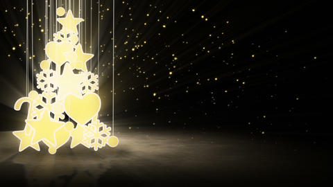gold christmas tree decoration loop Stock Video Footage