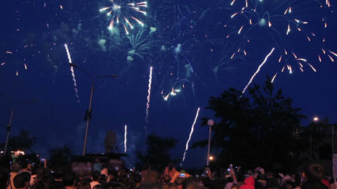 people watching fireworks Stock Video Footage