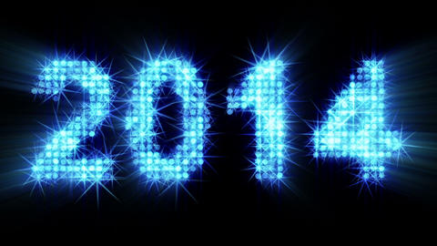 new year 2014 greeting glowing blue particles Animation