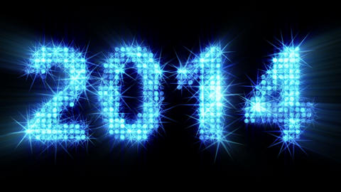 new year 2014 greeting glowing blue particles Stock Video Footage