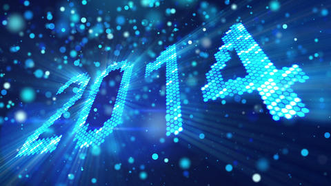 Greeting New Year 2014 Of Shining Blue Elements stock footage