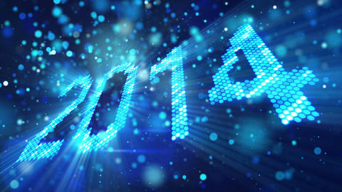 greeting new year 2014 of shining blue elements Stock Video Footage