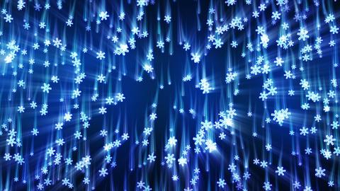 blue snowflakes with light streaks falling loop Stock Video Footage