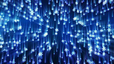 blue snowflakes with light streaks falling loop Animation