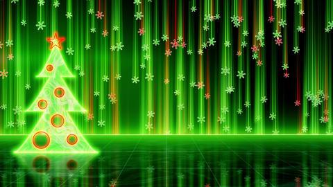 futuristic christmas tree and snowfall loop Stock Video Footage