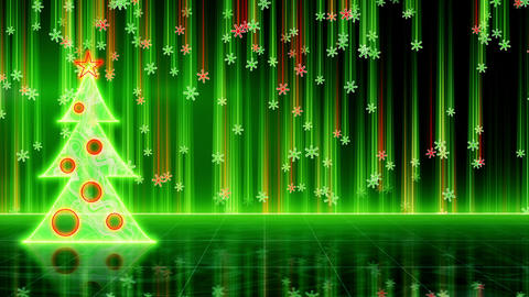 futuristic christmas tree and snowfall loop Animation