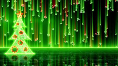 futuristic christmas tree and snowfall loop Animation