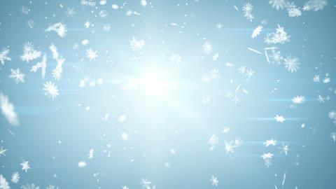 airy snowfall on blue seamless loop Stock Video Footage