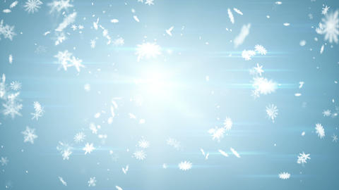 airy snowfall on blue seamless loop Animation
