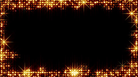 frame of shiny gold circles and stars Stock Video Footage