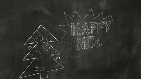 drawing new year greetings on blackboard Stock Video Footage