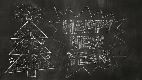 Drawing New Year Greetings On Blackboard stock footage