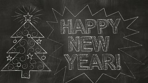 drawing new year greetings on blackboard Stock Video Footage