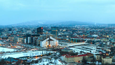 Dawn over Oslo, Norway. Common species. Time Lapse Footage