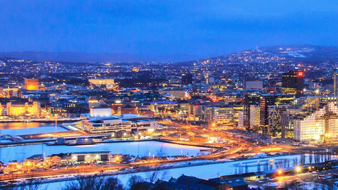 Den Norske Opera & Ballett. Dawn over Oslo, Norway Stock Video Footage