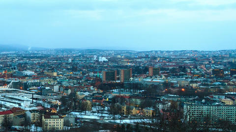 Dawn over Oslo, Norway Stock Video Footage