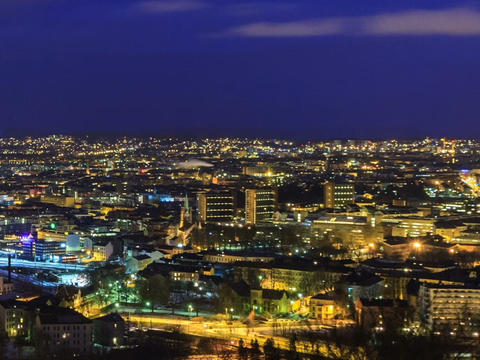 City wakes up. Dawn over Oslo, Norway. Time Lapse Stock Video Footage