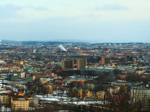 City wakes up. Dawn over Oslo, Norway. Time Lapse Footage