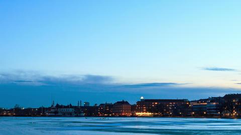 Waterfront views. Copenhagen, Denmark. Time Lapse Stock Video Footage