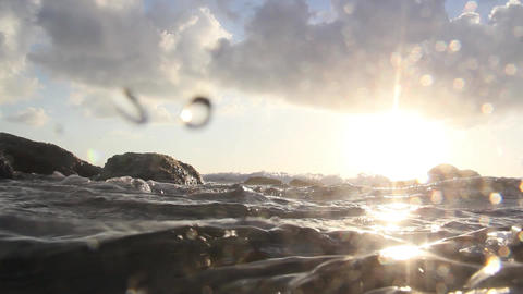 Paradise sunset. Shooting from the water Stock Video Footage