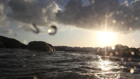 Paradise Sunset. Shooting From The Water stock footage