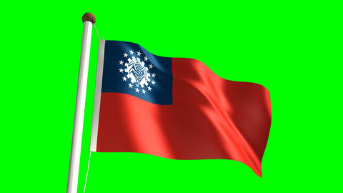 Myanmar flag Stock Video Footage