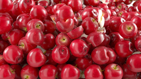 Red Apples falling down with slow motion. Alpha ma Stock Video Footage