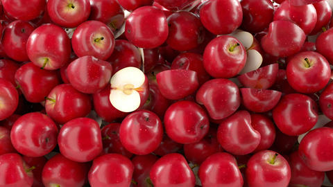 Red Apples Falling Down With Slow Motion. Alpha Ma stock footage