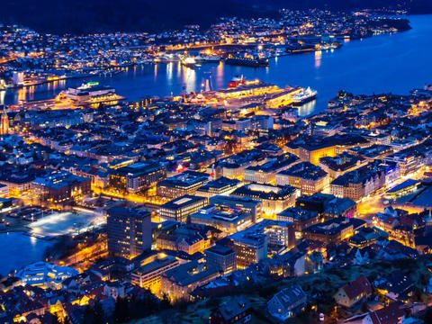 Sunset over Bergen, Norway. TimeLapse Footage