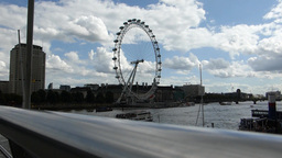 Full View Of London Eye Wheel Taken From Hungerfor stock footage