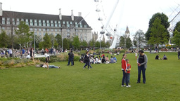 Visitors at Jubilee Gardens, London, UK. (LONDON E Stock Video Footage