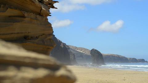 Roque del Morro and sandstone cliff coast 11102 Stock Video Footage