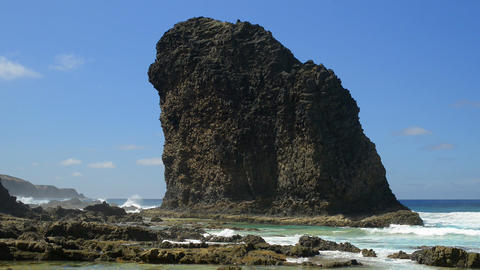 Roque del Morro close cliff coast background 11104 Stock Video Footage