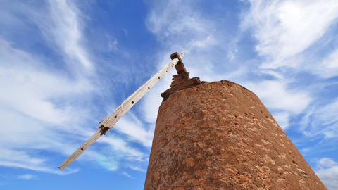 Old Damaged Windmill And Clouds Time Lapse 11106 stock footage