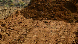 Close Up Of Land Moved By Bulldozer stock footage