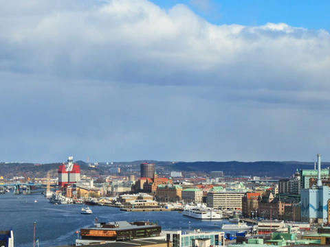 Panorama of the city. Gothenburg, Sweden. Time Lap Footage
