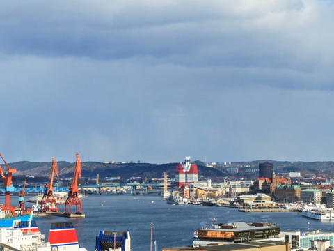 Panorama of the city. Gothenburg, Sweden. Time Lap Stock Video Footage