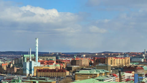 Shadows of clouds borne by city. Gothenburg, Swede Stock Video Footage