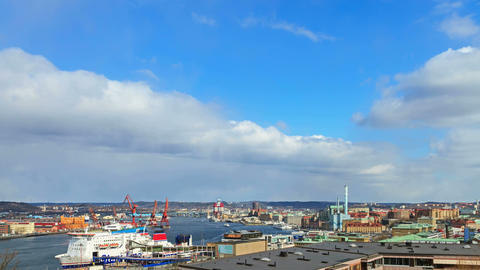Clouds over the city. Gothenburg, Sweden Stock Video Footage