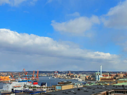 Clouds over the port city. Gothenburg, Sweden. Tim Stock Video Footage