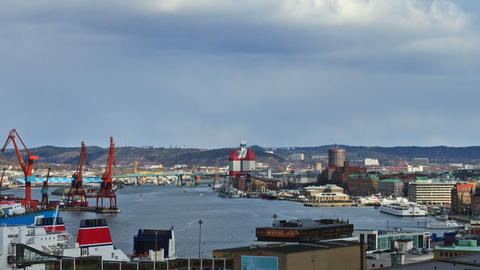Clouds over the port. Ship sails. Time Lapse Stock Video Footage