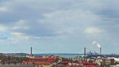 Bridge over the river. Gothenburg, Sweden. Time La Footage